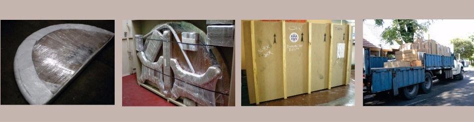 Embalaje para exportación mesas, paños y accesorios. Ed Roberts.