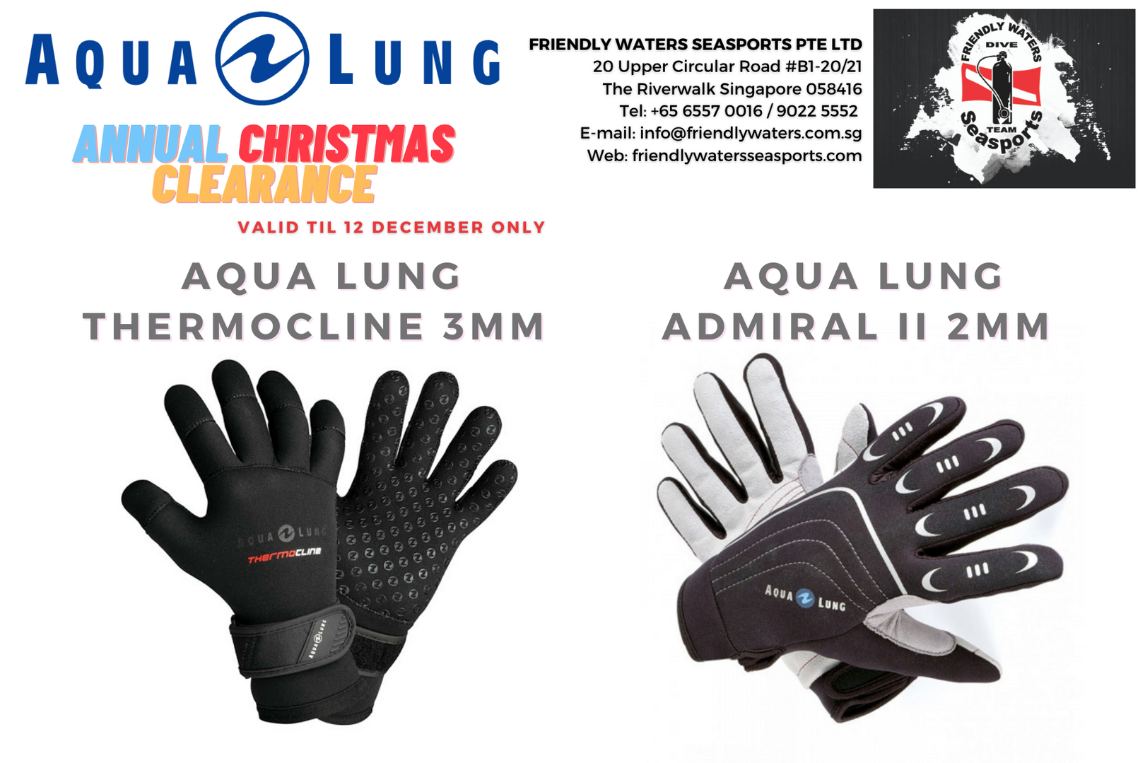 Annual Christmas Clearance - Aqua Lung Diving Gloves