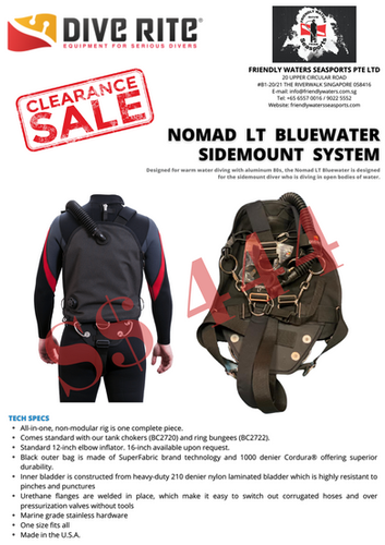 Dive Rite Nomad LT Bluewater Sidemount S