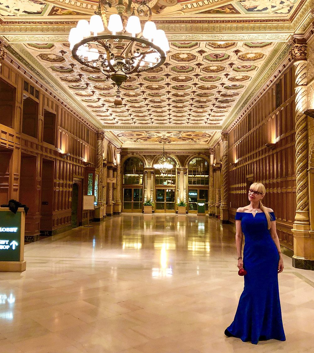 Girl in evening gown at Millenium Biltmore Los Angeles