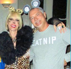 Couple in leopard Halloween costume