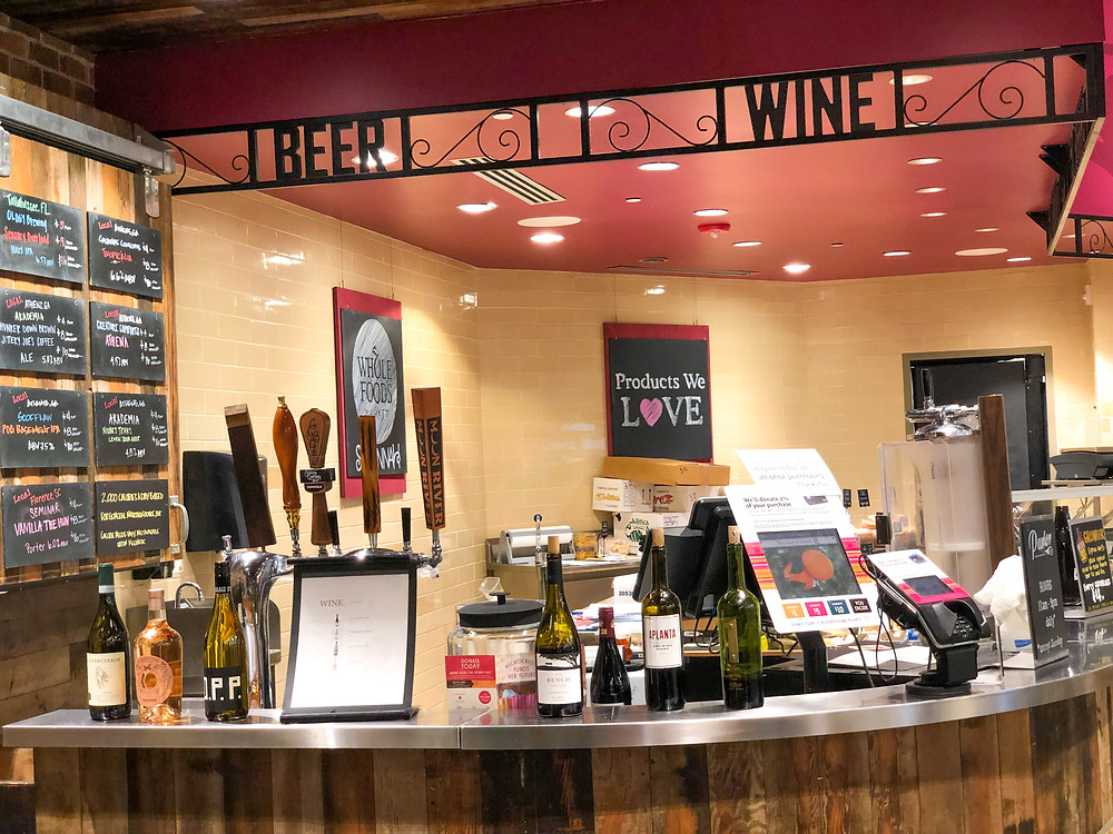 Wine bar at grocery store