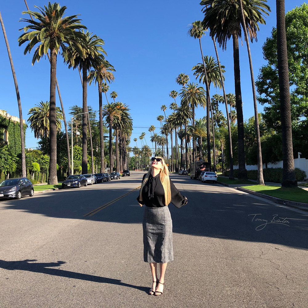 Woman by Beverly Hills Palm Trees
