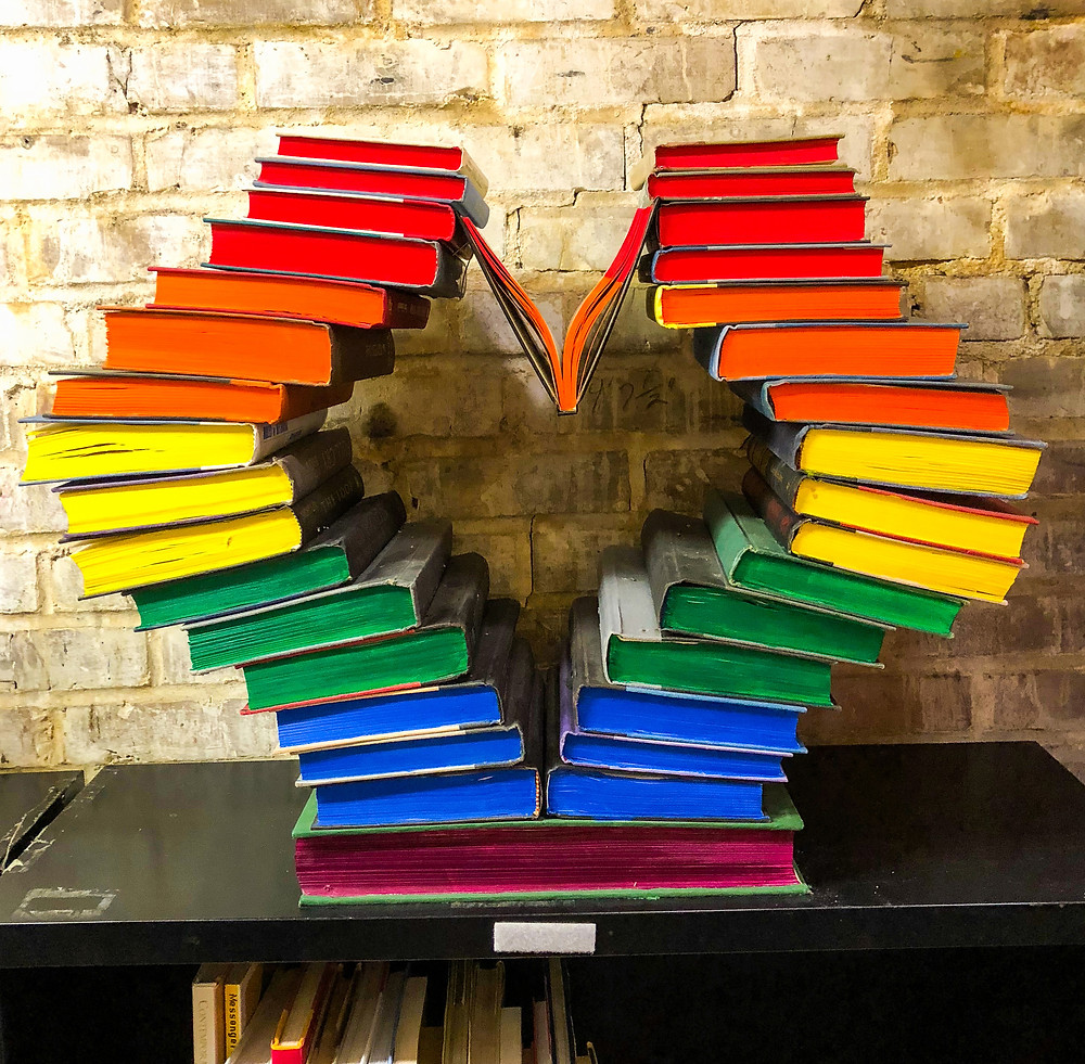 Heart sculpture made out of books