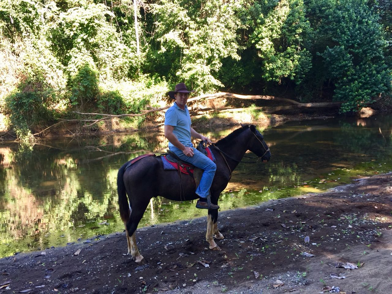 horseback in the river
