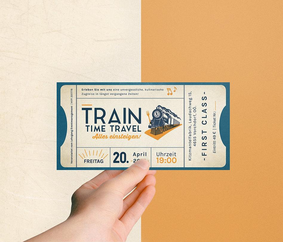train time travel, Ticket design, Eintrittskarte, Grafikdesign
