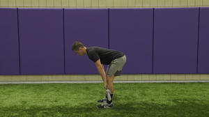 Baseball athlete hip hinging during a deadlift