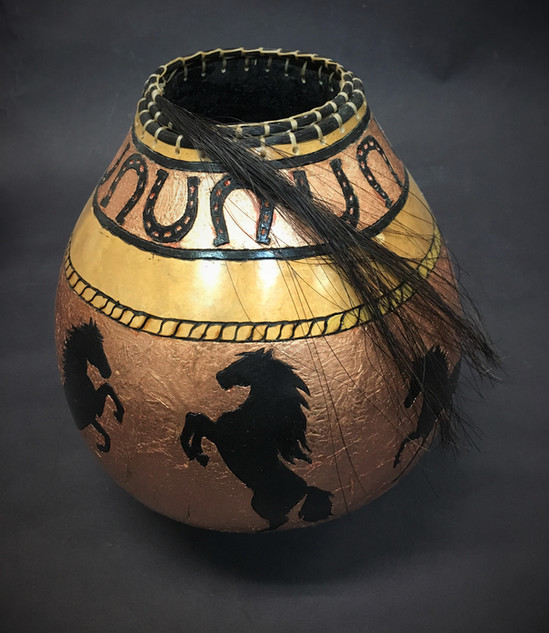 Gourd with Horses and Horse Hair