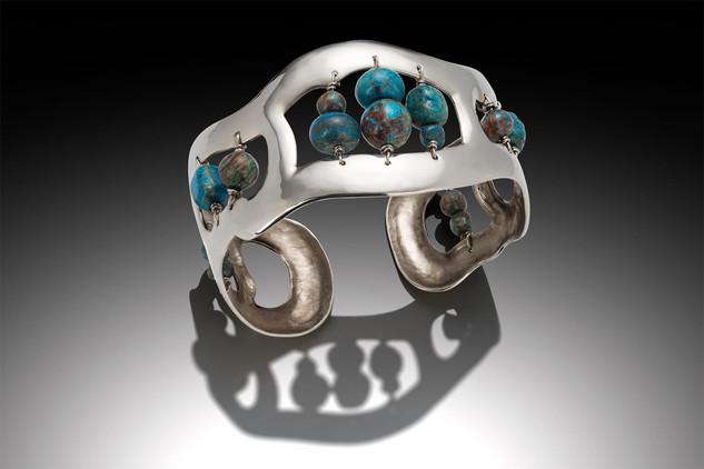 Sterling Cuff Bracelet with Blue Sky Jas