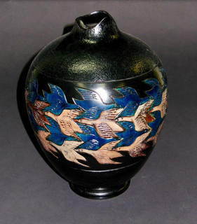 Turned Wood Vessel with Painted Etched Design