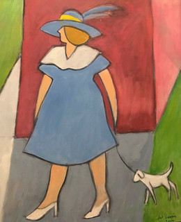 Woman with Hat Walking Dog