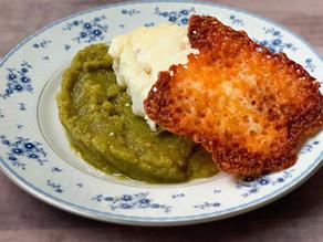 Lemon Cod with Poblano Sauce and a Cheddar Crisp