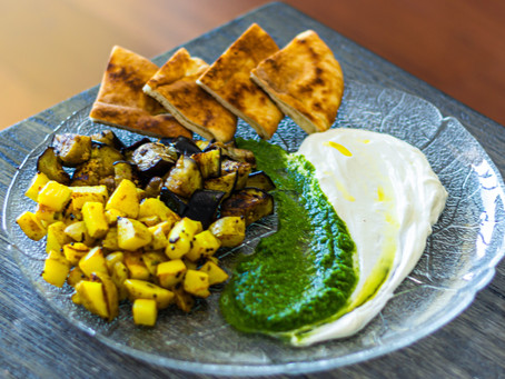 Labneh with Green Chutney, Mustard Roasted Potatoes and Cumin Seared Eggplants