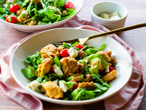 Recipe for Healthy Chicken Salad with Green Tahini Dressing