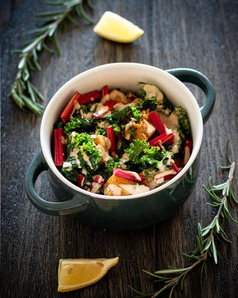 Kale & Butternut Squash Salad with Balsamic Tahini