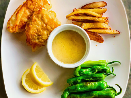 Beer Battered Fish & Chips with a Curry Aioli