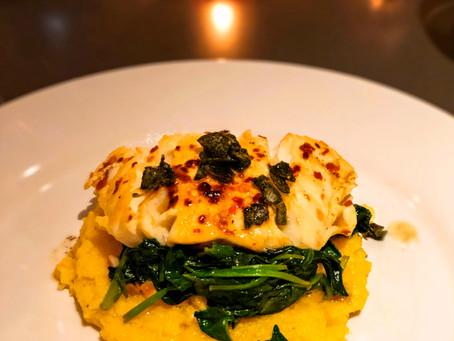 Brown Butter Garlic Cod on Spinach & Jalapeño Polenta