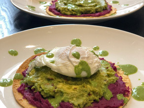 Corn Tortillas with Purple Potatoes, Guacamole, & a Poached Egg