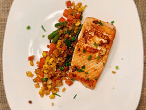 Soy Glazed Salmon with Cauli Rice Stir-Fry