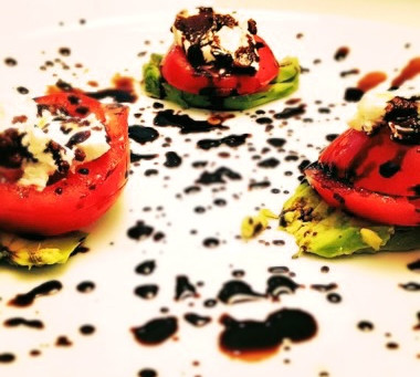 Avocado, Tomato, & Goat Cheese Salad with Balsamic Drizzle