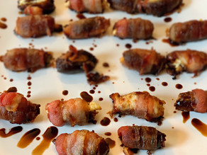 Bacon & Goat Cheese Wrapped Dates with Bourbon Glaze