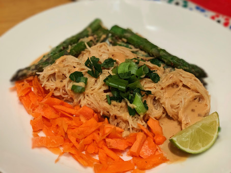 Miso Tahini Noodles with Carrots & Asparagus