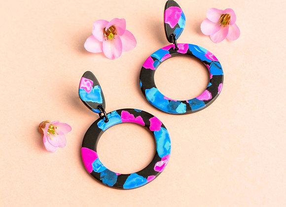 Rosa hoop earrings - Black Tropicana