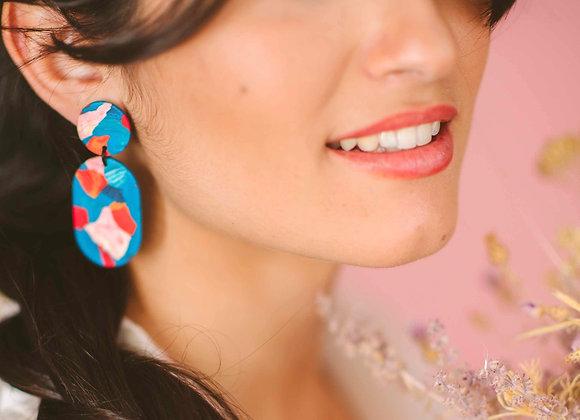 Charlotte oval drop earrings - Black Tropicana