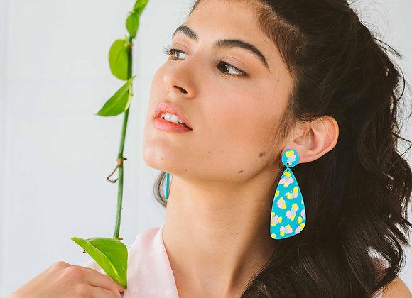 Daphne long drop earrings - Black Tropicana