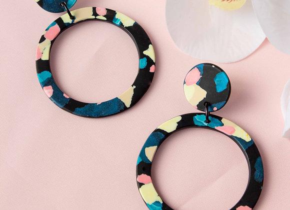 Chloe black hoop earrings - Black Tropicana