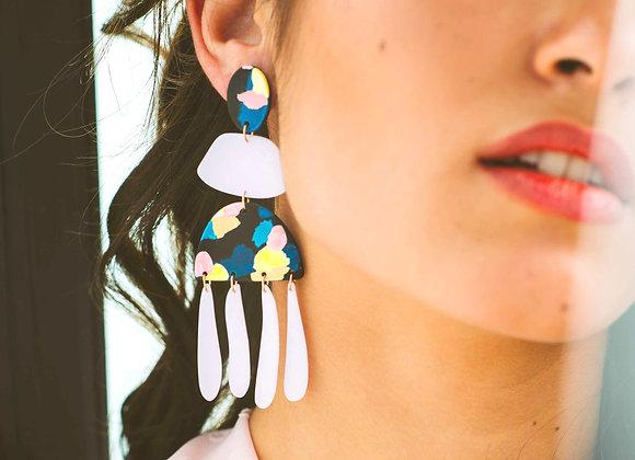 Chloe long drop earrings - Black Tropicana