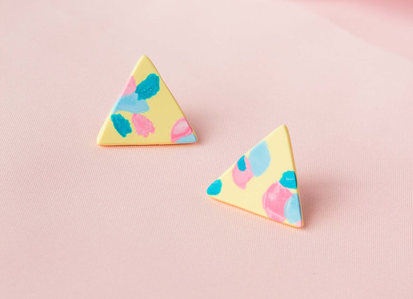 Felicia small triangle stud earrings - Black Tropicana