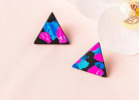 Rosa triangle stud earrings - Black Tropicana
