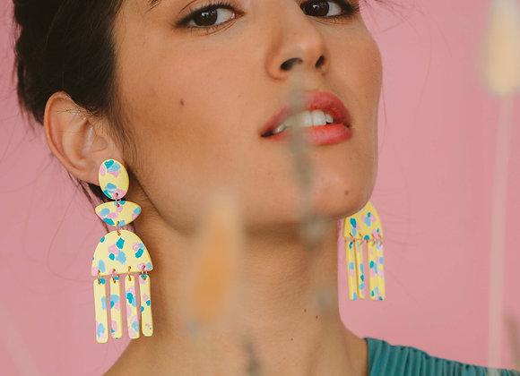 Felicia long drop earrings - Black Tropicana