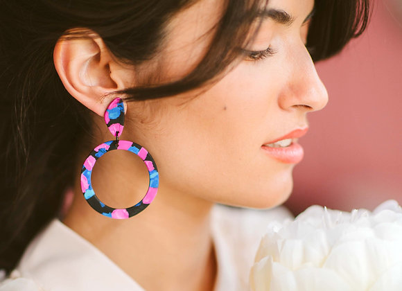Rosa big hoop earrings - Black Tropicana