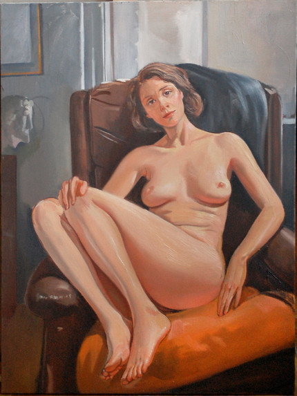 """Girl In Leather Chair  48"""" x 36"""""""