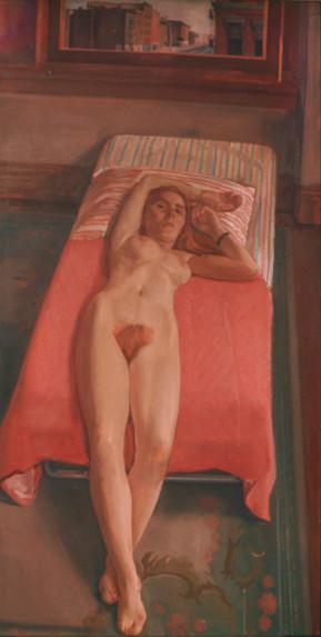 "Vertical Reclining Nude *  72"" x 40"" 1970"