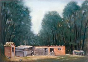 """Quercerto Chicken House 14"""" x 19"""" 1992"""