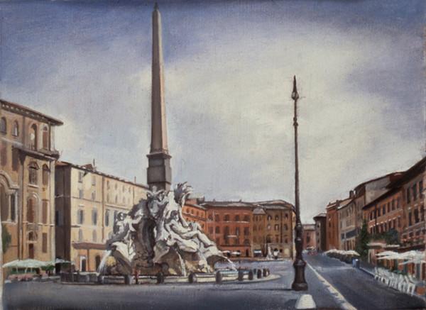 "Piazza Navonna*  7"" x 9.5"" 1996"