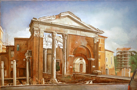 "Roman Temple  21"" x 32"" 1996"