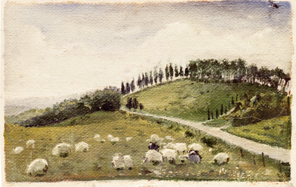 """Tuscan Landscape With Sheep 7"""" x 8"""" 1992"""