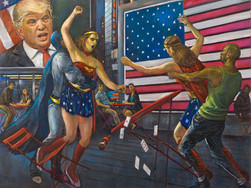 "Battle of Wonder Women 30"" x40"" 2017"