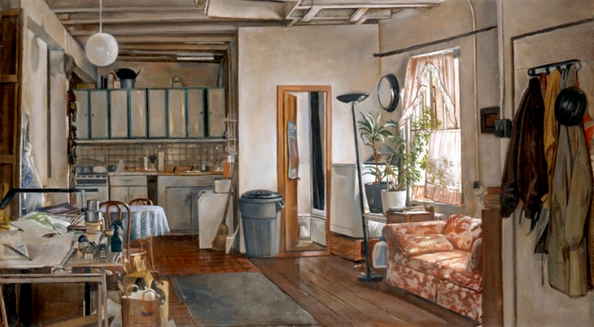 "Ninth Street Interior  29"" x 16"" 2001"