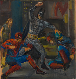 "Battle of Superheros 1* 14 1/2"" x 14"" 2015"