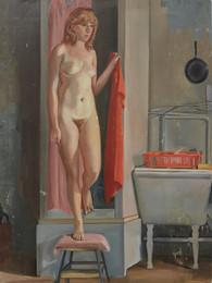 """Girl Emerging from Shower *  40.5"""" x 30"""" 1985"""