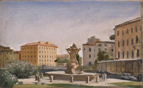"""Fountain With View of Velabro* 8"""" x 14"""" 1996"""