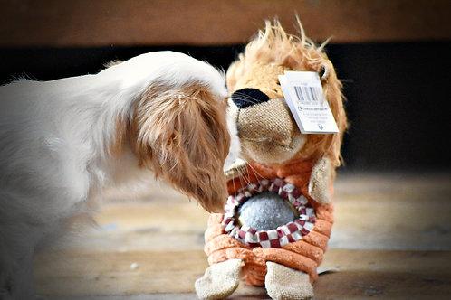 Doudou lion + balle intégrée pour chiot et chaton