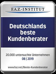 Auszeichnung:Deutschlands beste Kundenberater 08/2019