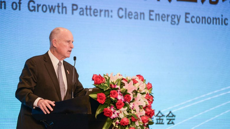 Gov. Jerry Brown speaking about climate change in China