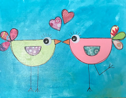 kissing birds teal